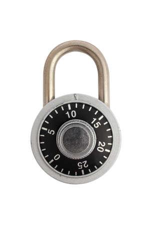 A locked combination padlock isolated on white background.  Banco de Imagens