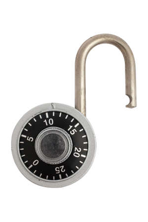 A unlocked combination padlock isolated on white background.  Stock Photo - 1877831