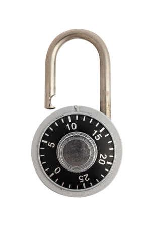 A unlocked combination padlock isolated on white background. Stock Photo - 1877838