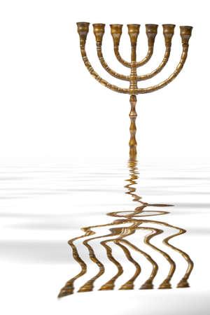 israelite: A Hanukkah Menorah reflected on water background