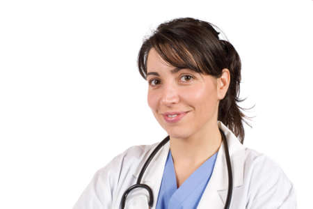 Friendly female doctor in lab coat with stethoscope photo