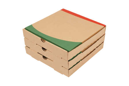 packer: Pizzas cardboard boxes isolated on white background Stock Photo