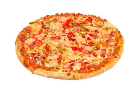 Tasty Italian pizza, isolated on white background