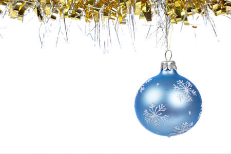 dangling: One blue Christmas ball dangling, isolated on white background Stock Photo