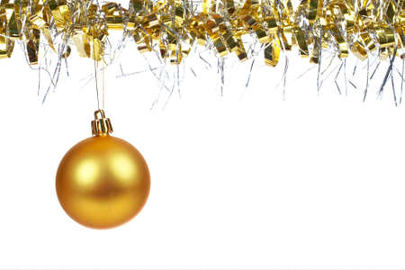 dangling: One golden Christmas ball dangling, isolated on white background Stock Photo