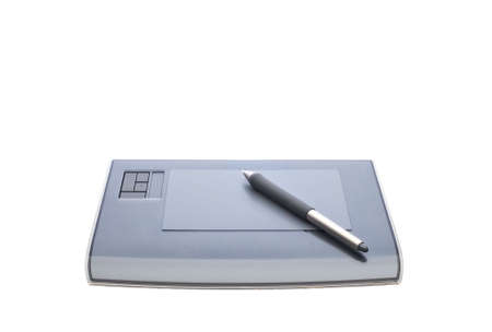 A graphic tablet with pen isolated on white background Stock Photo - 2128791