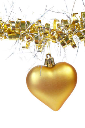 dangling: One golden Christmas heart, isolated on white background Stock Photo