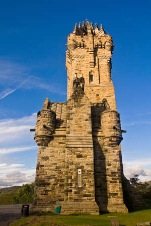 wallace: National Wallace Monument over blue sky, Stirling, Scotland Stock Photo