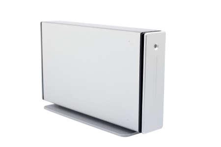 gigabytes: External hard drive isolated on white background. Shallow DOF Stock Photo