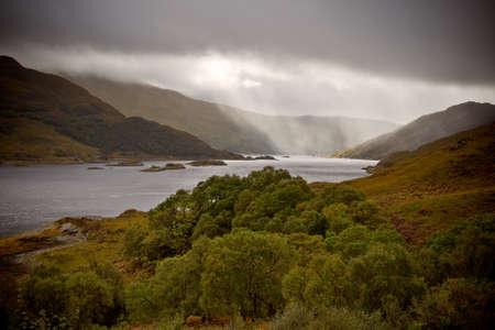 Dramatic storm with rain over the Loch Shiel, Scotland