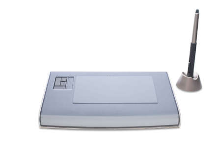 A graphic tablet with pen isolated on white background Stock Photo - 2379074