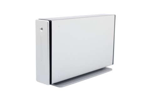 megabytes: External hard drive isolated on white background. Shallow DOF Stock Photo