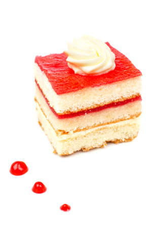 sugary: Delicious strawberry cake with soft shadow on white dish. Shallow DOF