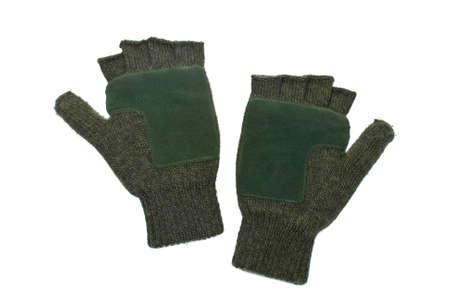 fingerless gloves: A woolen fingerless gloves isolated on white background Stock Photo