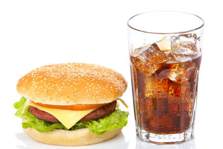 Cheeseburger and soda glass, reflected on white background. Shallow DOF Banco de Imagens - 2528559