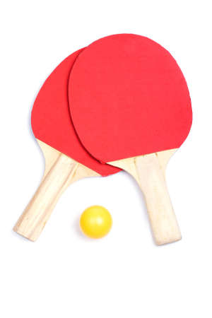 Ping pong paddles and yellow ball with soft shadow on white background     photo