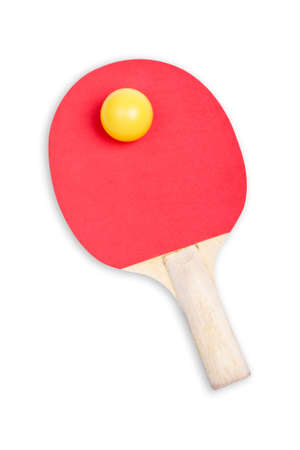 Ping pong paddle and yellow ball with soft shadow on white background     photo
