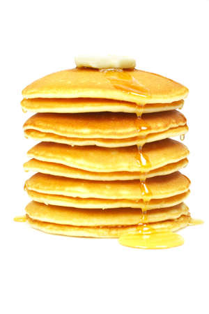 A big stack of pancakes with syrup and butter on focus. Shallow depth of field Banco de Imagens