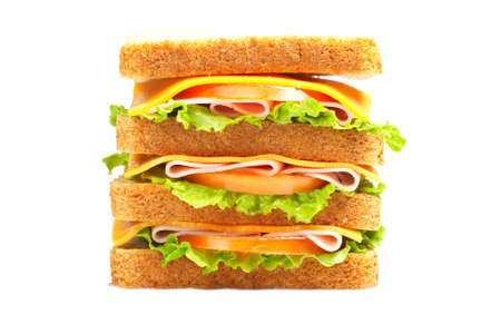 junkfood: Healthy double ham sandwich with cheese, tomato and lettuce