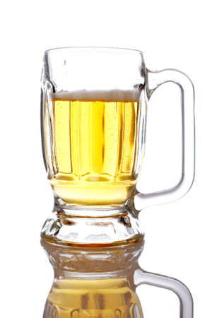 A beer mug reflected on white background photo