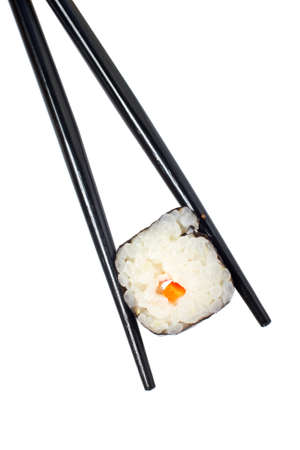 tekka: Sushi and chopsticks isolated on white background Stock Photo