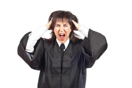 female judge: Angered female judge portrait over a white background