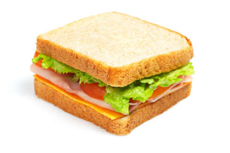 Healthy ham sandwich with cheese, tomatoes and lettuce Banco de Imagens - 3012628