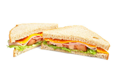junkfood: Healthy ham sandwich with cheese, tomatoes and lettuce Stock Photo