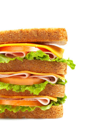 Healthy ham big sandwich with cheese, tomato and lettuce photo