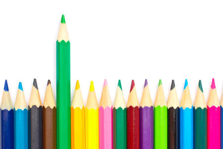 Assortment of coloured pencils with shadow on white background Stock Photo - 3338194