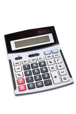 electronic balance: Calculator with soft shadow on white background. Shallow depth of field Stock Photo