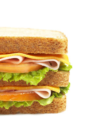 Healthy double ham sandwich with cheese, tomato and lettuce photo