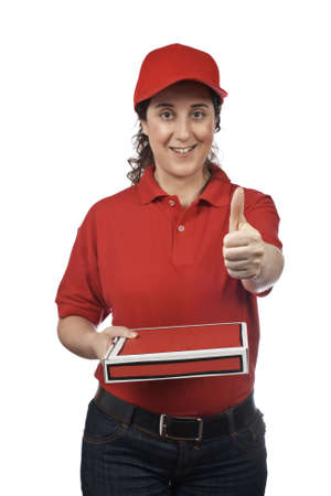 A pizza delivery woman holding a hot pizza. Isolated on white and success gesture. Focus at front  photo