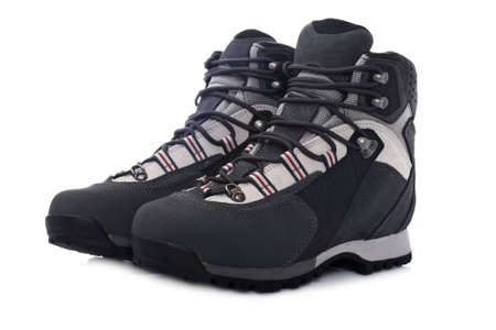 hillwalking: A pair of hiking boots with soft shadow on white background