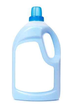 Bottle of laundry detergent or fabric softener isolated on white background. Blank label path included photo