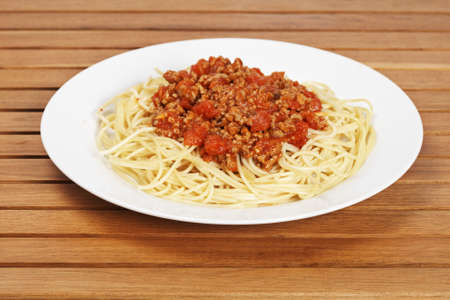 Spaghetti with tomato sauce and meat just for eating. Shallow depth of field
