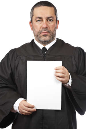 A serious judge holding the blank card, isolated on white background Stock Photo - 4110403