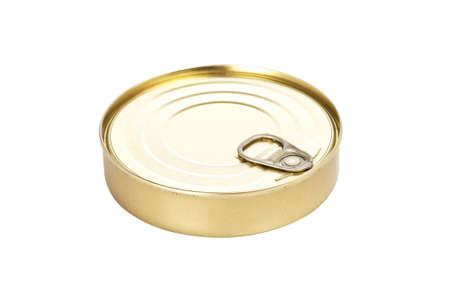 Food tin can isolated on white background. Shallow depth of field and path included