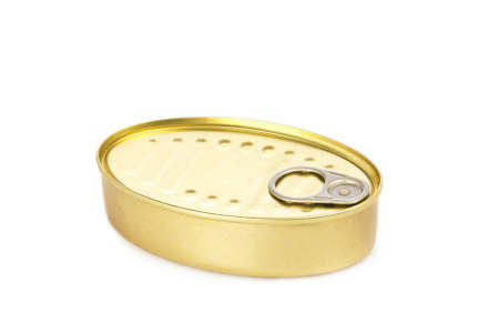 Fish tin can isolated on white background. Shallow depth of field and soft shadow