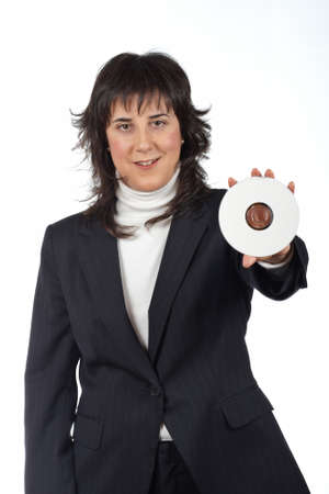 rewrite: Business woman holding a dvd disc over a white background. Eyes on focus