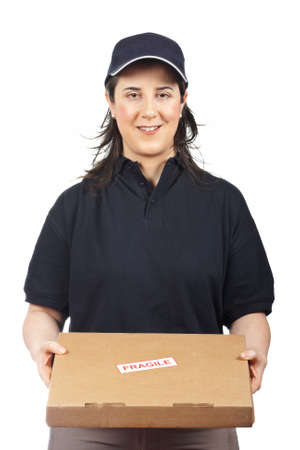 Courier woman delivering a package fragile on white background Stock Photo - 4321163