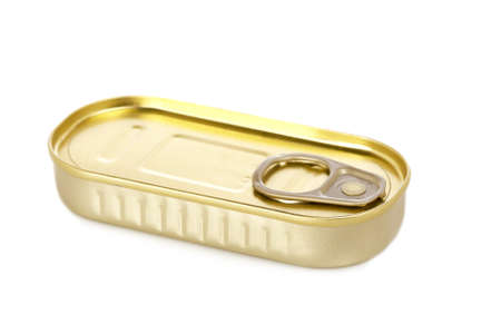 Fish tin can isolated on white background. Shallow depth of field photo