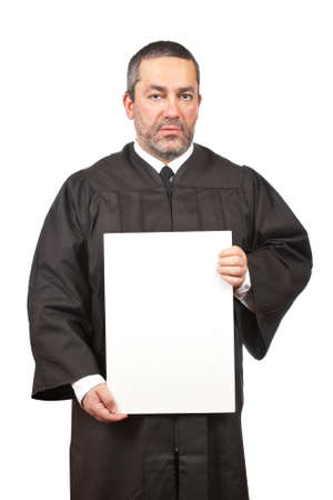 A seus judge holding the blank card, isolated on white background Stock Photo - 4321164