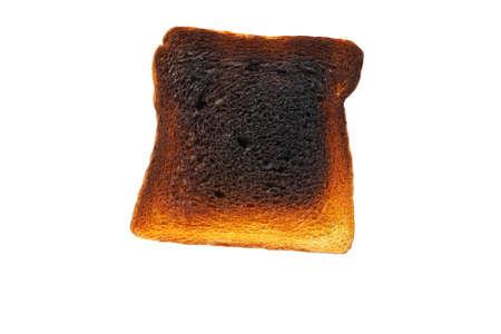 Slice of toast bread burned isolated on white background Stock Photo - 4339053