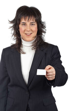 Business woman handing a blank card over a white background Stock Photo - 4339055