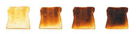Slices of toast bread before and after, isolated on white background Stock Photo - 4386970