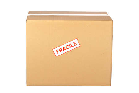 Fragile on cardboard box,  isolated on white background photo