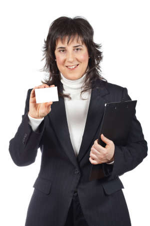 Business woman holding one blank card over a white background Stock Photo - 4494331