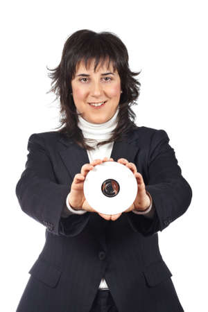 rewrite: Business woman holding a dvd disc over a white background. Eyes on selective focus
