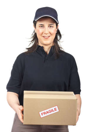 Courier woman delivering a package fragile on white background Stock Photo - 4524958